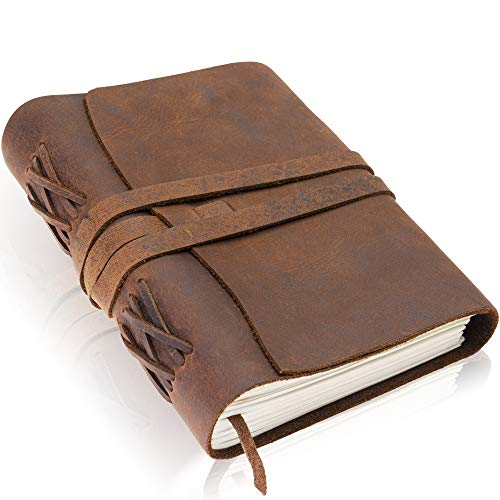 Premium Handmade Leather Journal by Scriveiner London � 8x6 Inch Unlined Leather Bound Daily Writing Notebooks & Journals to Write in for Men & Women, Cotton Paper Antique Travel Diary