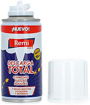 Remi Descarga Total Anti Chinches y pulgas Insecticida Chinches | Bomba Humo Insecticida | Aerosol Chinches | Acción Choque contra Plagas (150 ml)