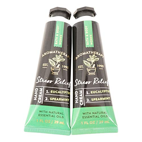 Bath and Body Works 2 Pack Aromatherapy Stress Relief Eucalyptus Spearmint Hand Cream. 1 oz