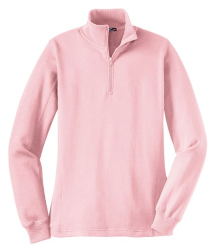 SPORT-TEK Women's 1/4 Zip Sweatshirt XL Pink