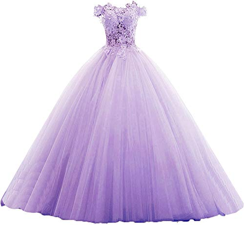 20KyleBird Women's Off The Shoulder Quinceanera Dresses Lavender Tulle Lace Appliques Ball Gown Crystal Sweet 16 Prom Dress in Size 2