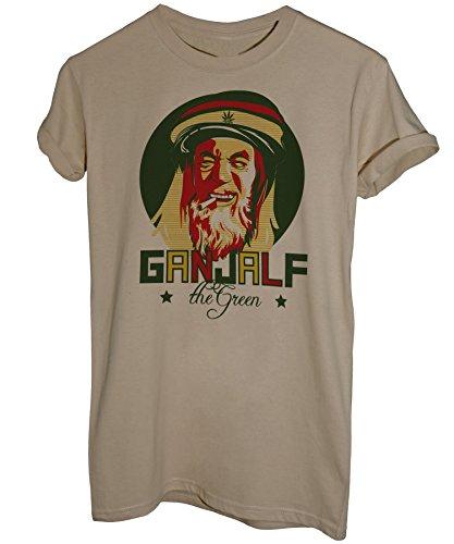 iMage T-Shirt Gandalf Il Verde Bob Marley Signore degli Anelli Jamaica - Divertenti - Uomo-L Sabbia