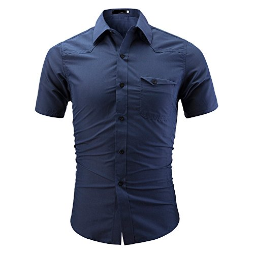 POTO Mens Casual Business Solid Double Collar Slim Button Down Dress Shirts Short Sleeve T-Shirts Top Blouse (4XL, Blue)
