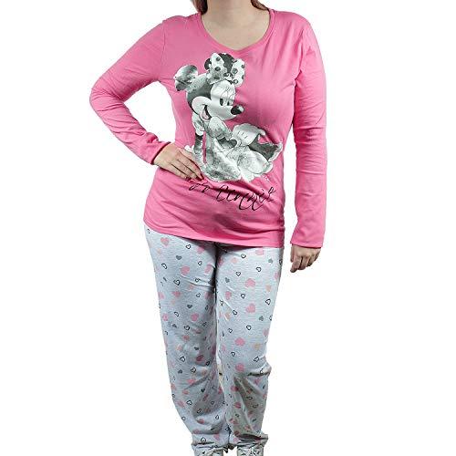 Pijama Set Pijama Pijama Nachthemd Schlafhose Damas Minnie Mouse Rosa Grau Rosa Gris L