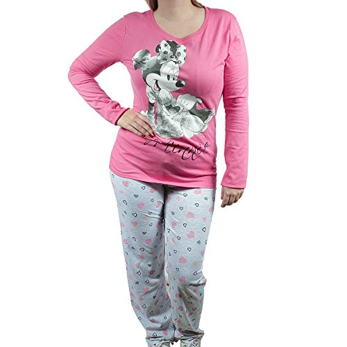 Pyjama Set Schlafanzug Nachthemd Schlafhose Damen Minnie Mouse Rosa Grau (M)