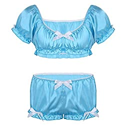 Underwear set with bras top and bloomers in satin for men. Blue color.