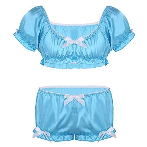 iEFiEL Herren Dessous BH Büstenhalter Crop Top + Sissy Höschen Tanga Slips Unterwäsche Set Männer Reizwäsche Bikini Set M-XL Himmelblau Large