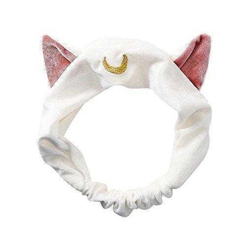 Coloré--(TM Cat Ears Bandeaux Headband Bandeau Oreille Femme Filles Mignon Laver Maquillage de Visage Bandeau Band Accessoires Cheveux Maquillage Lavage de Visage Douche (Blanc)