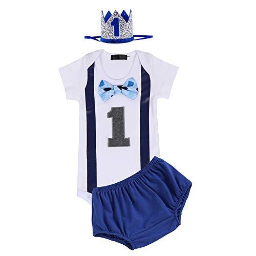 FYMNSI - Conjunto de ropa para bebé con diseño de tarta de primer cumpleaños + pantalones cortos + diadema de corona, 3 piezas