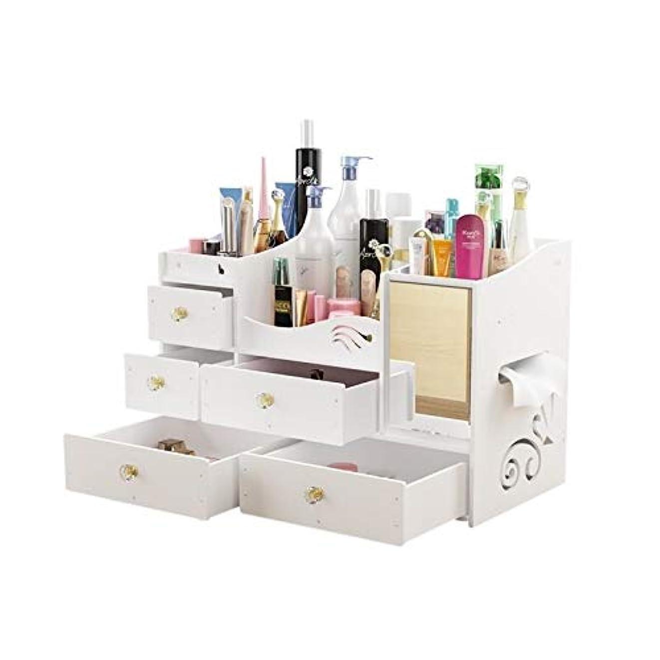物理感性ミットSTORAGE BOX PINGFUFF 化粧品収納ボックス、デスクトップ木製収納ボックス、ミラー付きDIY化粧品ケースミラー付きスキンケアラック