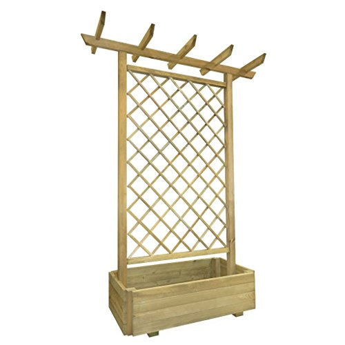 Festnight Garden Pergola Planter with Trellis for Climbing Flower Balcony Wooden Planter Box 162x56x204 cm FSC Wood
