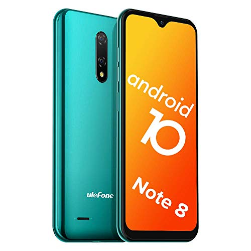 Teléfono Móvil Libre, Ulefone Note 8 Android 10 3G Smartphone Libre, 2GB RAM 16GB ROM (128GB SD) Smartphone, Pantalla 5.5' Water-Drop Screen Movil, 5MP + 2MP + 2MP, Dual SIM, Face ID, GPS (Verde)