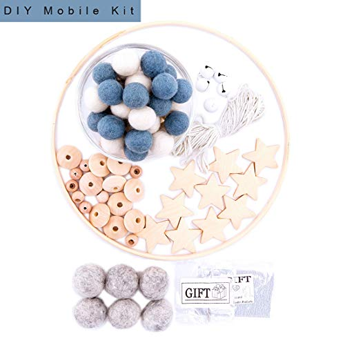 let's make Kinderzimmer Dekor DIY handgemacht Baby Mobile Kit Filzkugeln aus Holz Little Star Beads Zubehör (Blau)