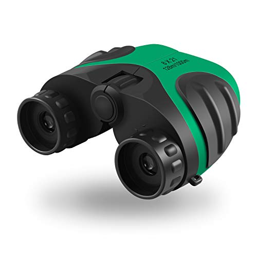 Sandman Crafts Binoculars for Child,Boy Gift Teen,Outdoor Sports Games Toys,Birthday Presents for Kids (3-12 Years Old),Compact Binoculars Set for Bird Watching Hiking Camping(Green)