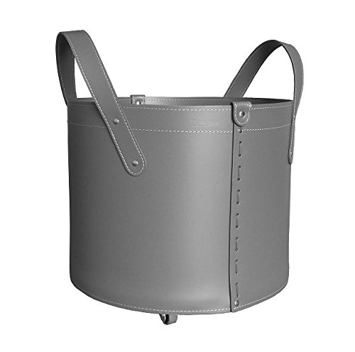 Firestyle Tonda Mini: Kaminholzkorb aus Leder Farbe Grau anthrazit, Holzkorb, Feuerholzkorb, Brennholzkorb, Exlusivdesign, Made in Italy.
