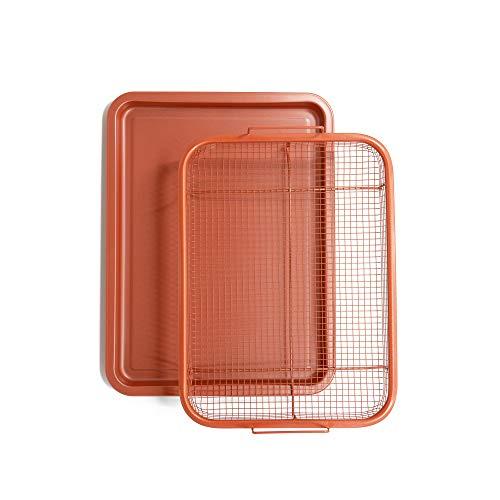 Chef Pomodoro Bandeja de cobre crujiente, freír aire de lujo en tu horno, juego de 2 piezas, bandeja para hornear (ángulo – grande)