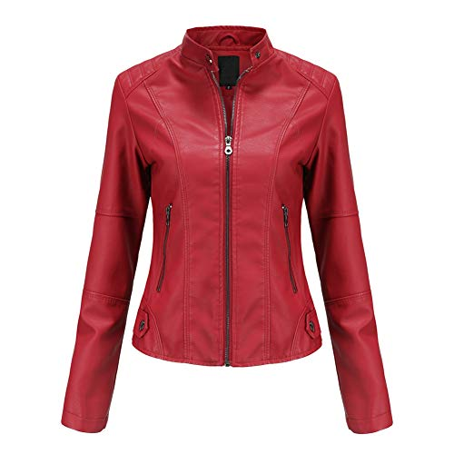 YYNUDA Lederjacke Damen Kurz Jacke Übergangsjacke aus Kunstleder mit Reißverschluss für Herbst