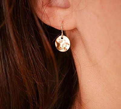 Boucles d'oreille médaille martelé - Boucles d'oreille plaqué or - Cercles Doré - Métal martelé - Bijoux mariage, demoiselle d'honneur
