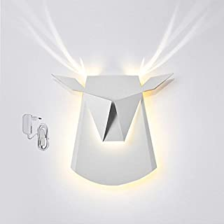 Popup Lighting Elegant Aluminum Wall LED Light Deer Head Fixture Electricity Plug in White