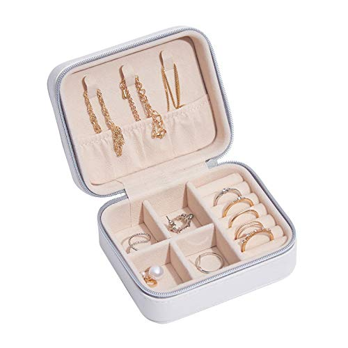MUY Pendientes de botón portátiles Anillos Caja de Almacenamiento Elegante Mini Caja de joyería de Cuero de PU Estuche para niña Pendiente de Diamante Collar de Oreja Caja de Regalo de Pascua Caja