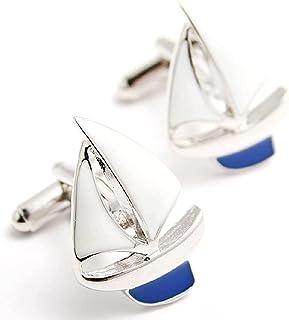 船 ヨットボート 帆船 カフス (カフスボタン・カフリンクス) 専用ジュエリーBOX付