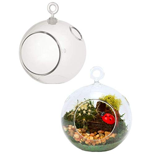 2 Clear Globe Terrarium Plastic 4.5-in. DIY Create Your own Hanging Planter Stand Kids Crafters Wedding Air Plants Succulents Orbs Candles + Jute tie- Steelpangal