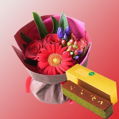 結婚記念日 金婚式 還暦 長寿のお祝い 京都光かすてら(抹茶) & 赤い花束 (SE)