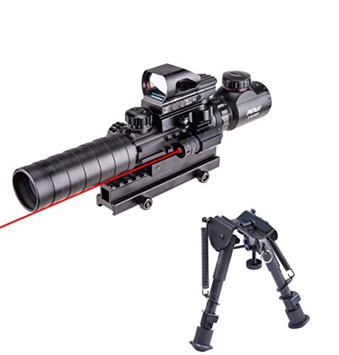 Pinty Rifle Scope 3-9x32 Rangefinder Illuminated Reflex Sight 4 Reticle Red Dot Laser Sight&Carbon Fiber Rifle Bipod with 6 inch to 9 inch Adjustable Legs Picatinny Adapter