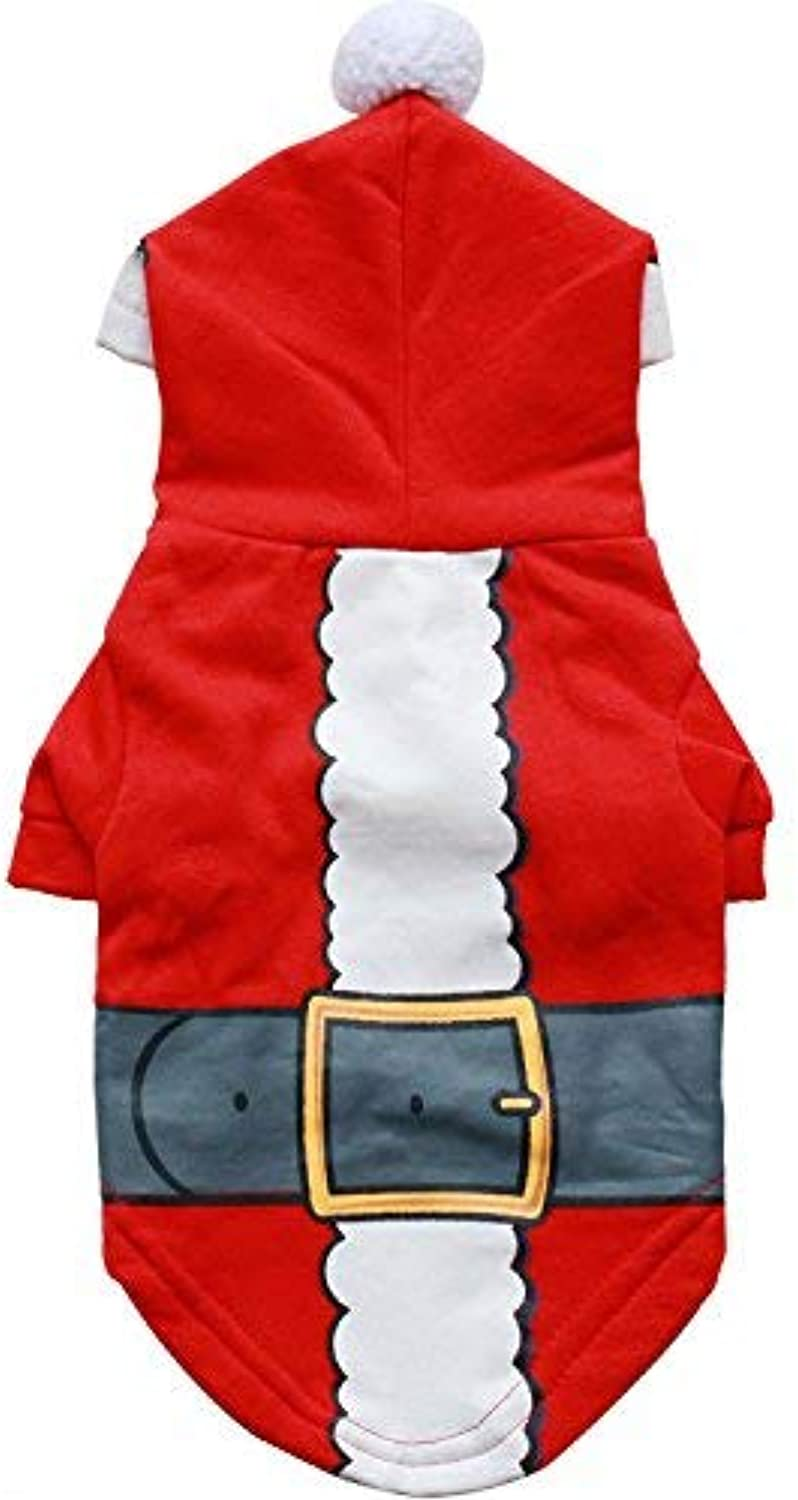 HSDDA Party Pet Costume Pet clothing dog clothes cotton wool santa small dog pet compassionate autumn and winter models (color   Red, Size   S) Pet Uniform (color   Red, Size   S)