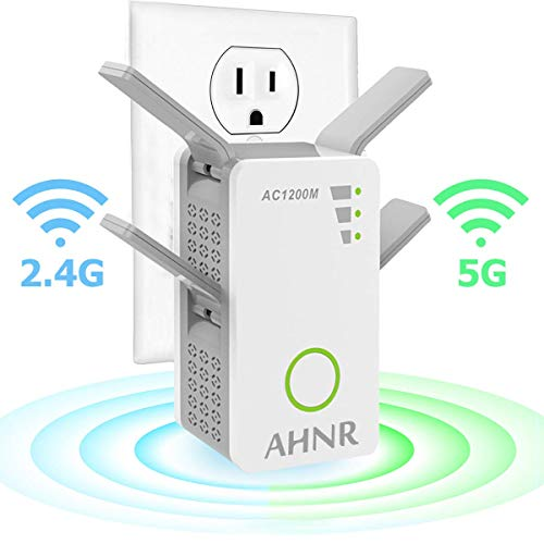WiFi Range Extender, WiFi Signal Booster, AHNR Wireless WiFi Repeater AC1200 2.4/5GHz Dual Band Up to 1200 Mbps with 4 External Antennas, Supports Router...