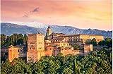 ZZXSY Puzzles 1000 Piezas Juegos Educativos La Antigua Fortaleza Árabe De La Alhambra En La Hermosa Velada Granada España Hito De Viajes Europeos Adecuado para La Decoración del Hogar.