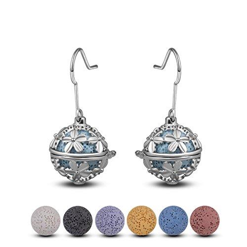 INFUSEU Vrouwen druppels oorbellen etherische olie parfum haak diffuser zilver gecoat medaillon met 6 paar lava stenen