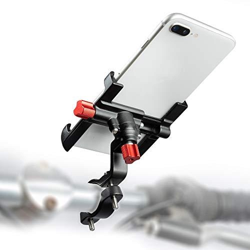 LYCAON Soporte Móvil Bicicleta, Rotación de 360 ° Ajustable, Soporte para Teléfono Móvil de Bicicleta para Teléfono Inteligente de 2,17'-3,74' para Scooter Eléctrico/Motocicleta (Negro)