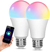 [2 Pack] WiFi LED Light, Smart Bulb, Sunrise and Sunset-dimmable, RGB Multi-Color, Warm White (Color-Changing Disco Ball L...