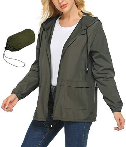 ZEGOLO Women's Lightweight Hooded Waterproof Raincoat Windbreaker Packable Active Outdoor Rain Jacket Army Green Large