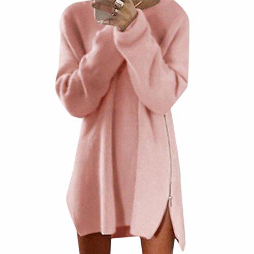 QIYUN.Z Camisetas De Manga Larga Vestido De Suéter Lado Dividida Jersey Para Mujer Del Otoño Del Invierno