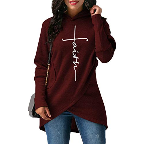 Women Casual Long Sleeve Faith Letter Printed Hoodie Sweatshirt with Pockets (M, Wine Red)