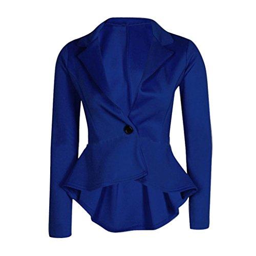Photno Short Suit Jacket for Women Frill Shift Slim Fit Peplum Blazer Jacket Coat Outwear (M, Blue)