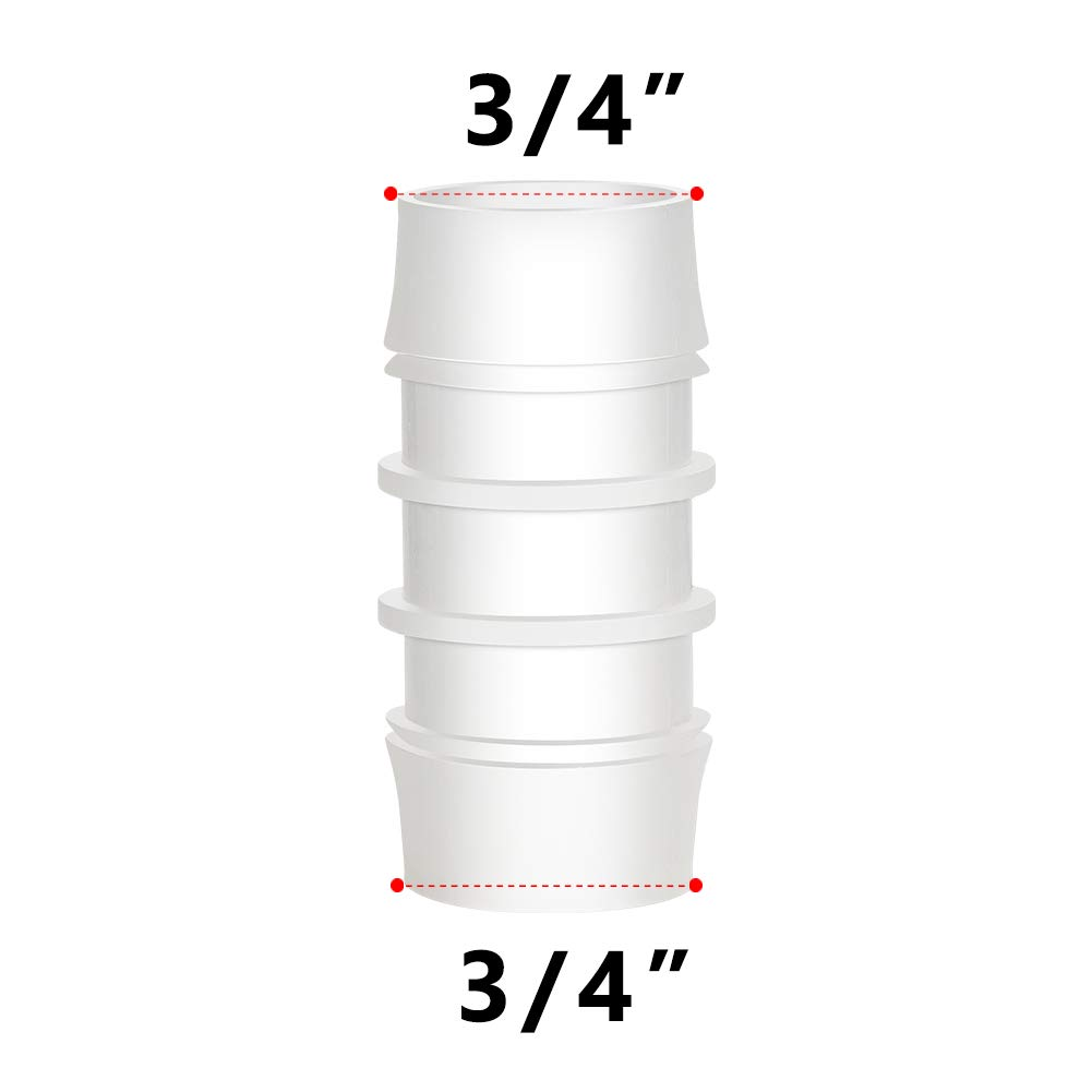 Pack of 5 1//2 x 1//2 Barbed Splicer Mender Joint Adapter Union Fitting Quickun Plastic Hose Barb Fitting