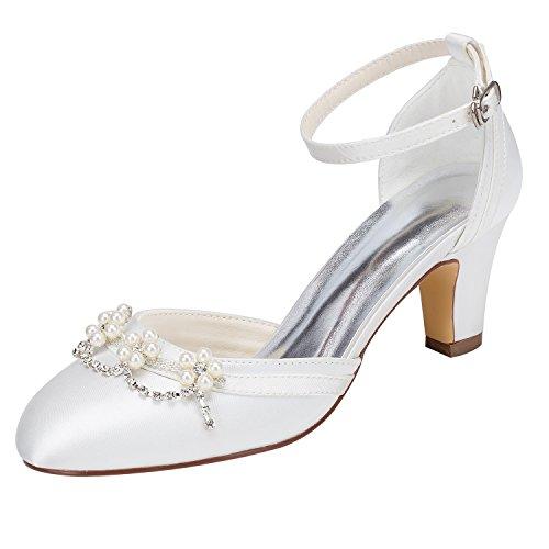 Emily Bridal Zapatos de Novia de Marfil Tacón Grueso Tobillo con Punta...