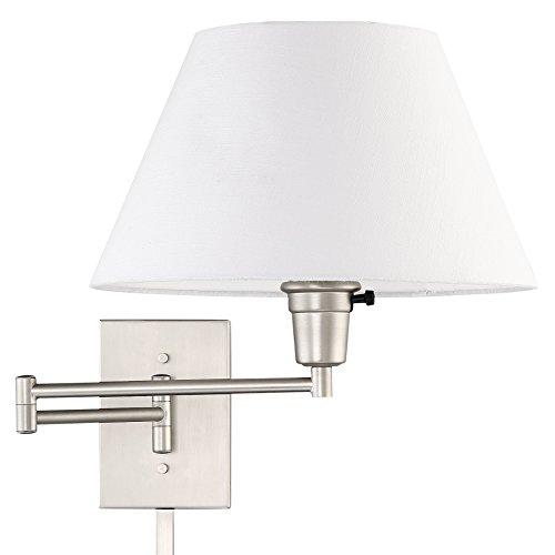 Kira Home Cambridge 13' Swing Arm Wall Lamp - Plug in/Wall Mount + White Fabric Shade, 150W 3-Way + Cord Covers, Satin Nickel Finish