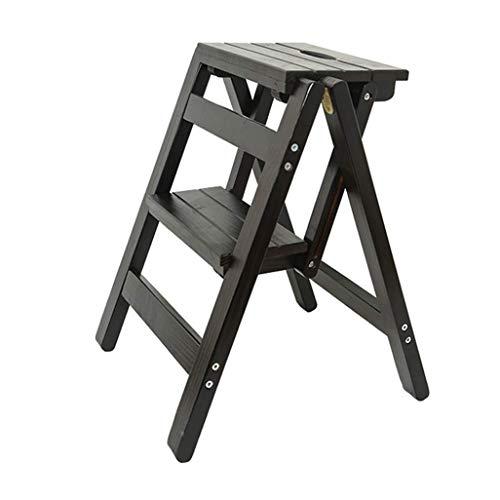 GUOXY Multifunktions-Stehleiter/Leiter-Folding 2-Hocker Stuhl Leiter, Holzleiter, Leiter Schritt, Großer Garten Hocker Höhe 52 cm Hohe Traglast Max. 150 Kg In Schwarz