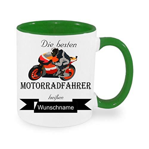 Crealuxe Tasse m. Wunschname Die besten Motorradfahrer heißen. Wunschname - Kaffeetasse mit Motiv, Bedruckte Tasse mit Sprüchen oder Bildern