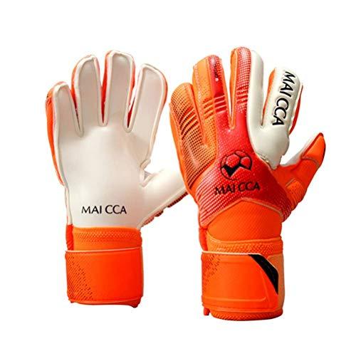 Wrzbest - Guantes de portero profesionales para niños, guantes de portero, fútbol, fútbol, fútbol, portero, guantes seguros con agarre fuerte y protección para las espinas de los dedos (naranja, 5)