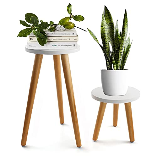 Ranslen 2 Pack Plant Stand, Modern Bonsai Plant Holder Rack Indoor Outdoor, Wooden Sturdy Plant Table for Home Balcony Office, Succulent Potting Bench Plant Pots Vases Base, Patio Decor