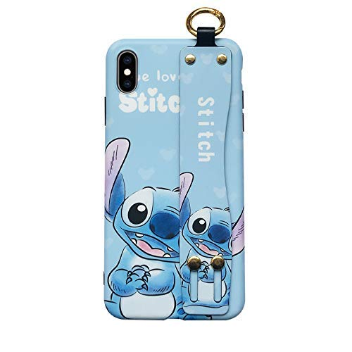Soft TPU Blue Stitch Case with Stand Hand Holder Loop for iPhone Xs Max 6.5 Lilo Walt Disney Disneyland Cartoon Cute Lovely Protective Adorable Kids Teens Girls Boys Son Daughter