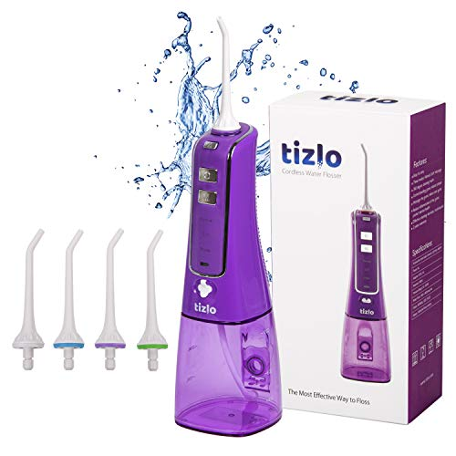 Water Flosser Cordless 10oz 300ml Rechargeable Portable 3 Modes For Brighter and Healthier Teeth IPX7 Technology Dental Waterjet  4 Tips Purple