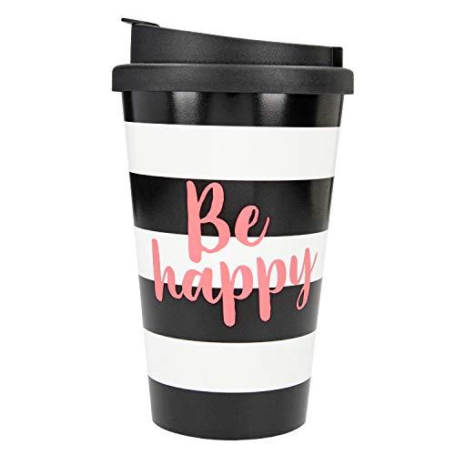 Depesche 2180.003 To-Go Becher aus Kunststoff mit Spruch, 350 ml, Be Happy
