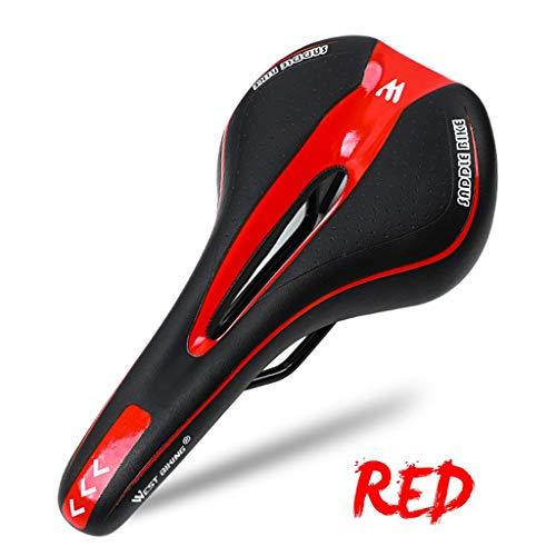 Jamicy Cómodo sillín de bicicleta de montaña, asiento de gel para bicicleta de montaña, cojín suave, accesorio para bicicleta de montaña, color rojo