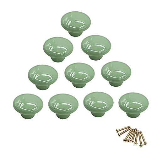 10 pomos redondos de cerámica de colores con un solo orificio, tirador para armario, aparador, puerta, cajón verde